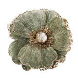 Glitter Flower Clip Decoration Sage 15cm