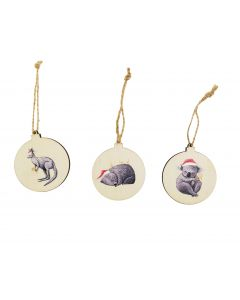 RT Christmas Animals Wooden Discs Hangin
