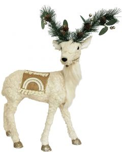 Native Reindeer Standing Decoration Whit