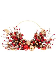 Elegant Bauble Wreath Red & Gold 55cm