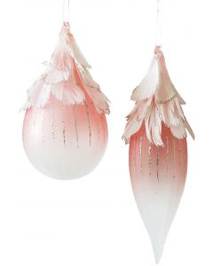 Feather Glass Hanging Bauble Pink 15cm (
