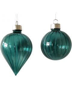 Retro Glass Hanging Bauble Navy 8cm (2 A