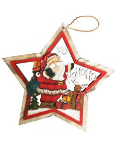 Hanging Wooden Red Nat Santa Star 27cm