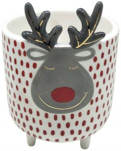 Reindeer Planter with Legs White  Red M