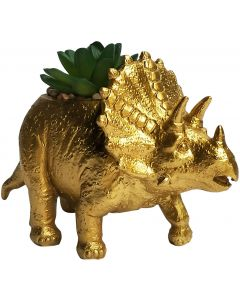 Triceratops Planter with Succulent  Gold