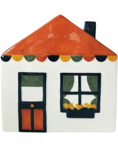 Retro House Planter White Sm 18x19cm