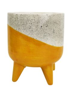 Avery Dot Planter with Legs Yellow Med 1