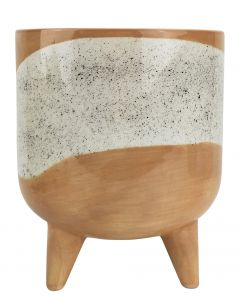 Avery Dot Planter with Legs Beige Lg 19.