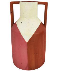Windsor Vase Terracotta & White Lg 25cm