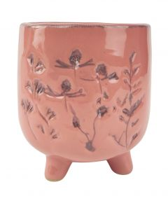 Aubrey Floral Planter with Legs Pink Med