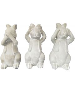 Sale Three Wise Concrete Bunnies Grey 20cm (S