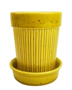 Mae Planter with Saucer Yellow Med 14cm