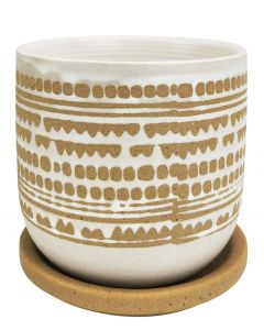 River Geo Planter with Saucer White & Mo