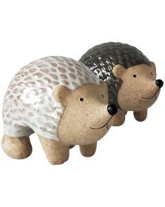 Hedgehog Pot Hanger White  Grey 8cm (2