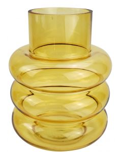 Tommy Ring Glass Vase Amber Med 22cm