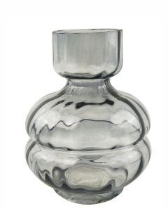 Tommy Squat Glass Vase Steel Sm 15cm