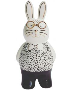 Bunny with Glasses Figurine Monochrome 1