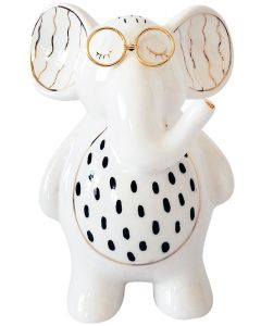 Elephant with Glasses Figurine White 15c