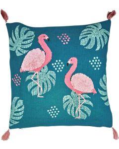 Sale Oasis Flamingo Cushion Teal  Pink
