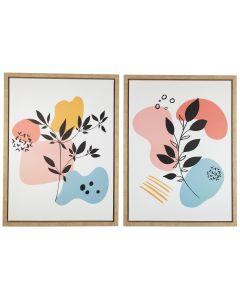 Marziah Abstract Foliage Wall Art Pink &