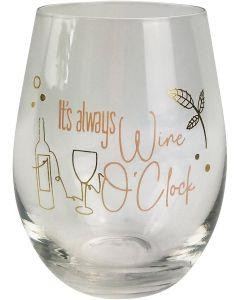 Its Always Wine O'Clock Wine Glass Pink