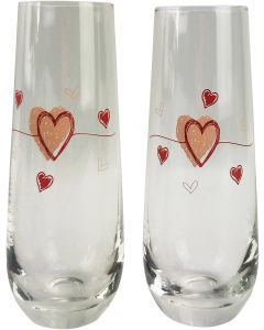 Love Champagne Glass Pink 16cm (S2)