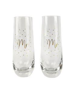 Mr & Mr  Champagne Glass Gold 16cm S/2