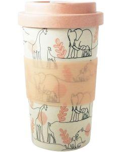 Zoo Animal Sketch Eco Mug Pink 400ML