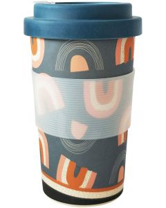 Retro Rainbow Eco Mug Pink  Mustard 400ML H14x8x8cm