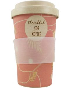 Thankful for Coffee Eco Mug Pink 400ML